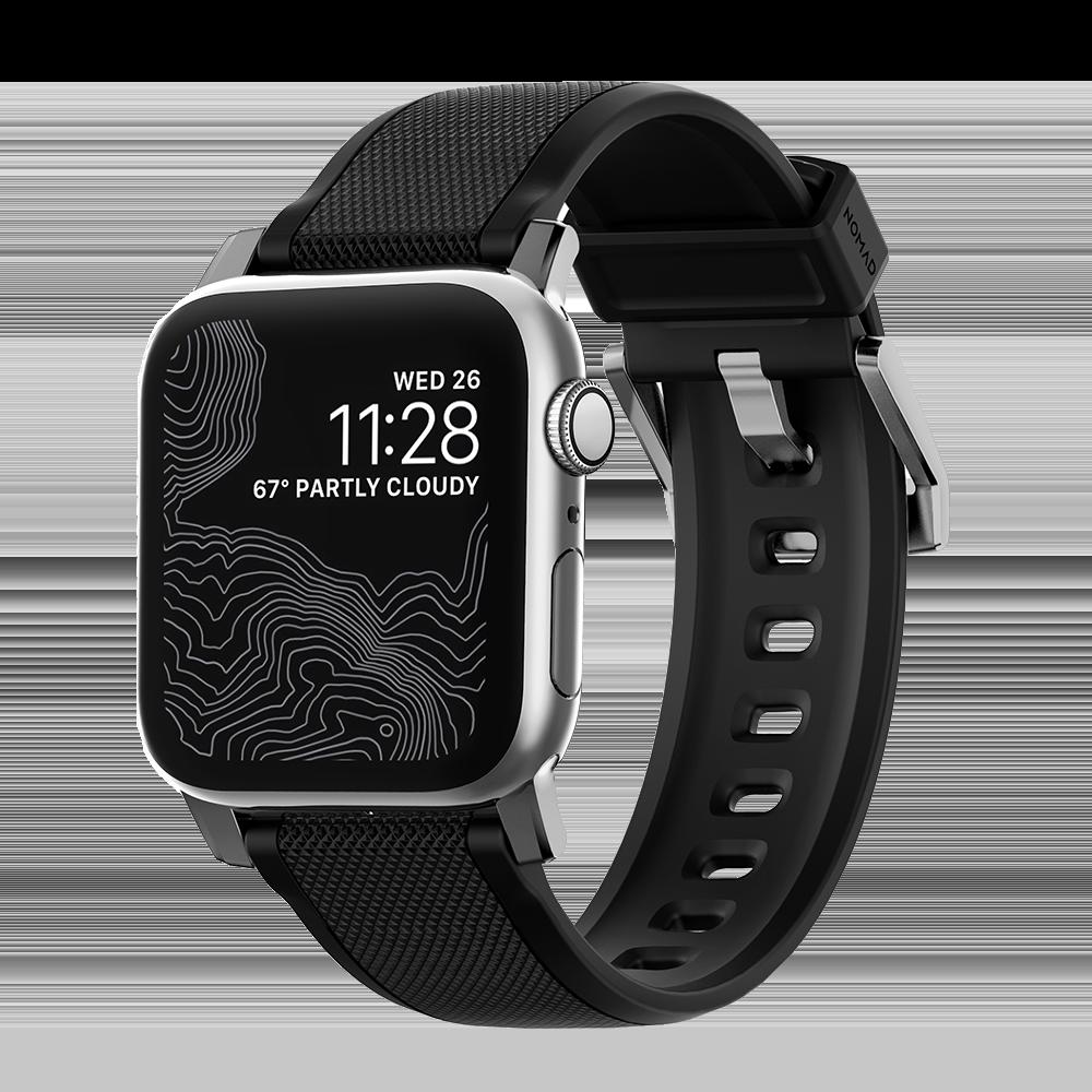 Nomad Rugged Apple Watch bandje 42mm / 44mm - Zwart met zilveren gesp